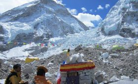 Everest base camp trek in February  Khumbu Ice fall Everest Base Camp near khumbu glacier