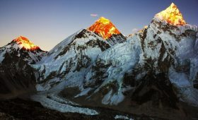 Where is mount Everest located on glob map conquering mount everest