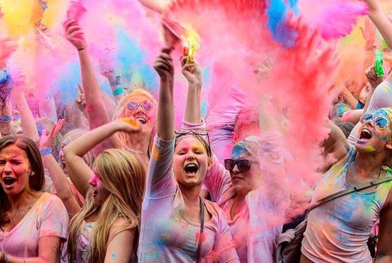 Celebrating Holi festival in Nepal
