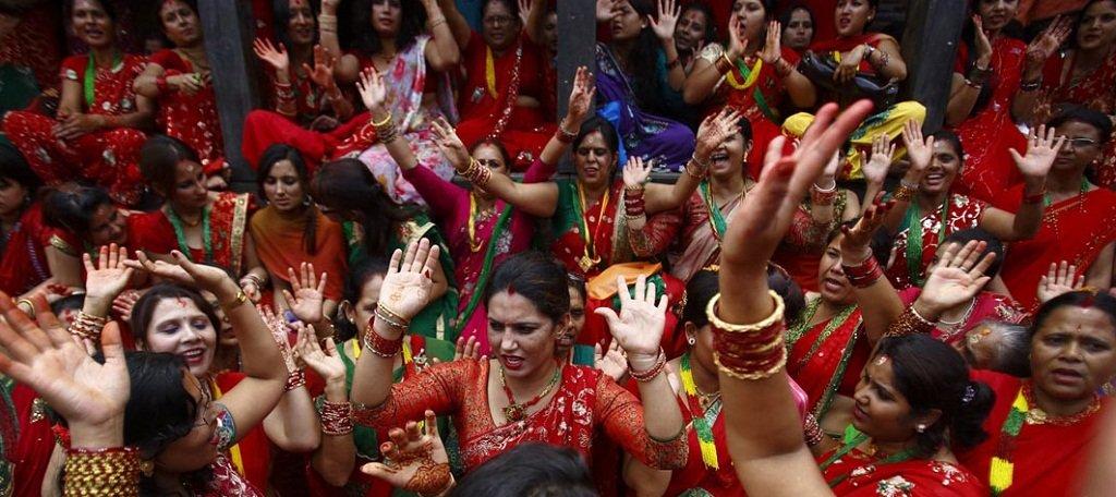 women are dancing in Teej festival in Nepal